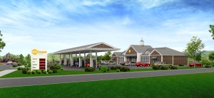 An artis's rendering of the view from the east side of the proposed new gas station on Middlebury Road. (Submitted rendering)