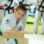 Zachary Berardis, 6, breaks a board in a green belt competition at Holy Cross High School. (Submitted photo)