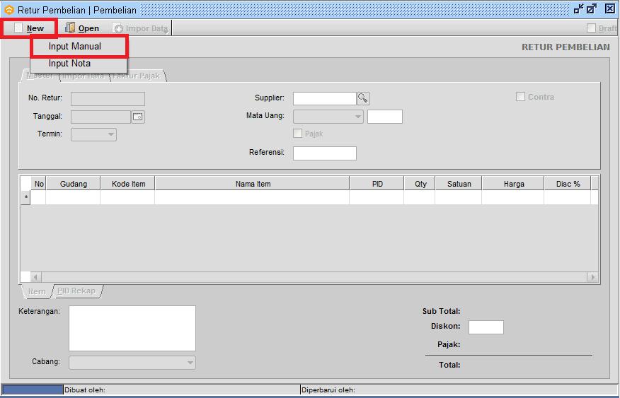 Retur Pembelian Tanpa Nota/Input Manual - Bee.id