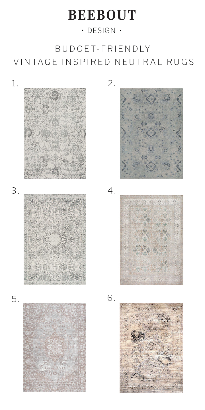 Budget Friendly Vintage Inspired Neutral Rugs | Beebout Design