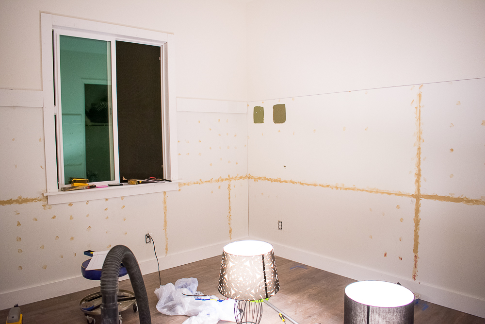 Board and Batten Wall Paneling Progress for the One Room Challenge by Beebout Design