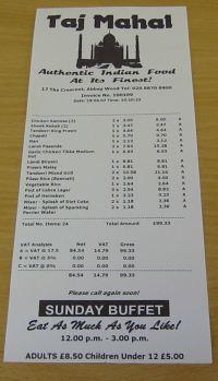 restaurant sale receipt