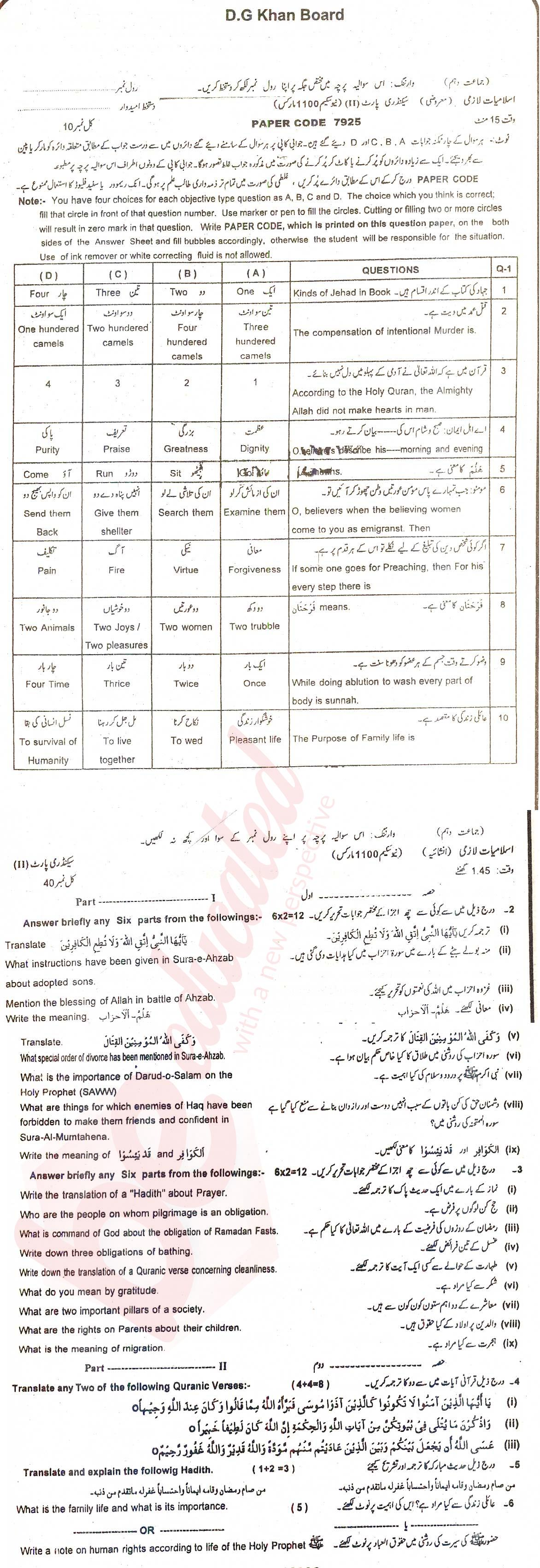 Islamiat (Compulsory) 10th class Past Paper Group 2 BISE