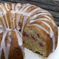Raspberry and coconut bundt cake