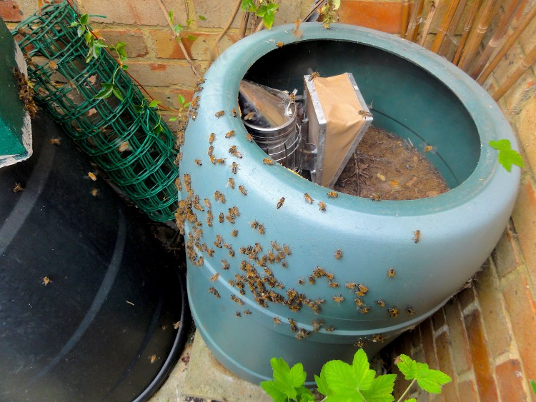 Bee Smoker Inside Plastic Compost. #BeehiveYourself, #WantageHoney, #GroveOxfordshire, Beehive Yourself, Wantage Honey, Grove Oxfordshire,
