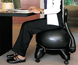 exercise ball chair for back pain dining table and chairs ireland using a less beeinge