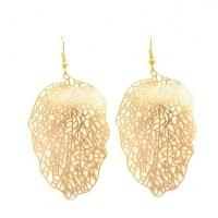 filigree leaf earrings - lacy gold
