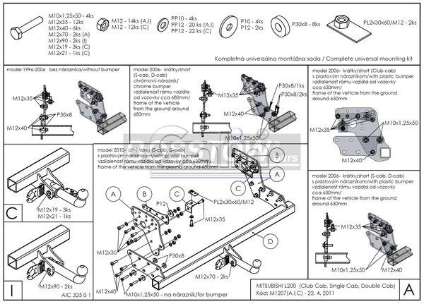 Anhängerkupplung Mitsubishi L200 jetzt starr Montage