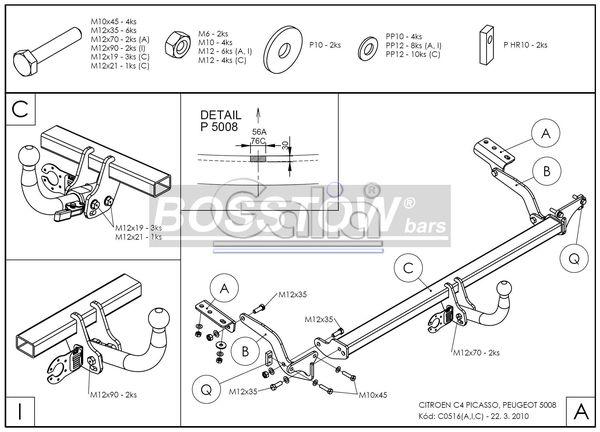 AHK PKW Peugeot 5008 spez. Diesel mit adblue Tank 09-17 starr