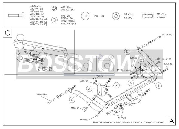 AHK PKW Renault Scenic Scenic I, nicht 2. 0 16V 00-03 starr