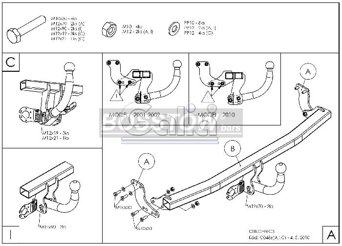 AHK PKW Citroen C3 Fließheck, auch X-TR 02-05 abnehmbar
