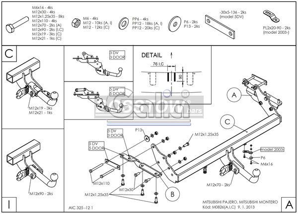 AHK PKW Mitsubishi Pajero V60 (kurzer Radstand) 02-06