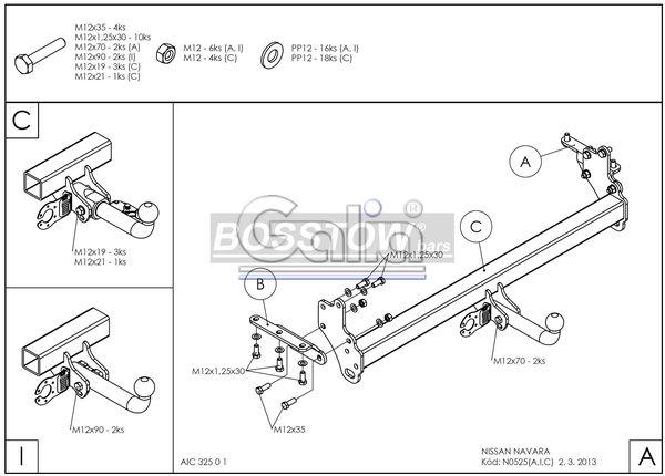 AHK PKW Nissan Navara D40 mit Trittstoßstange 05-10 abnehmbar