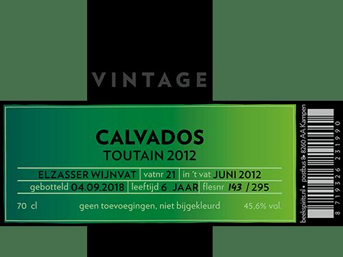 BEEK Vintage Calvados Toutain 2012 etiket
