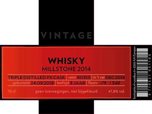 etiket vintage whisky Millstone 2014 Triple Distilled PX