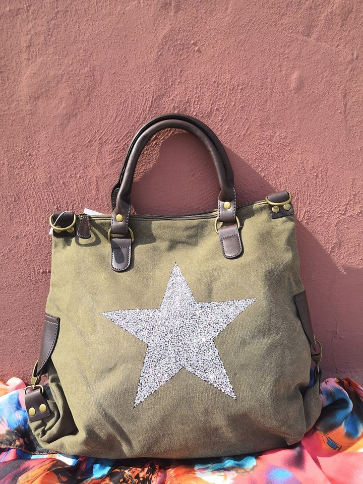 Borsa in canvas con stella glitter