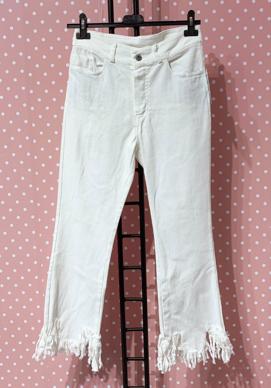 Jeans Frange Bianco