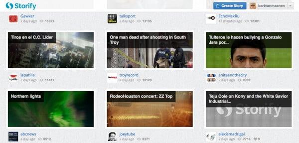 Screenshot van de Storify website