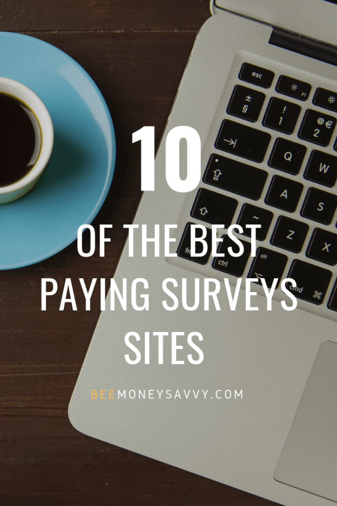 "text: ""10 of the best paying survey sites"" image: coffee cup and laptop"