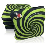 Green Spiral Set of 4 Beer Belly Bags Performance Cornhole Bags