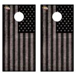 Black American Flag Premium Cornhole Board Wrap Set of 2