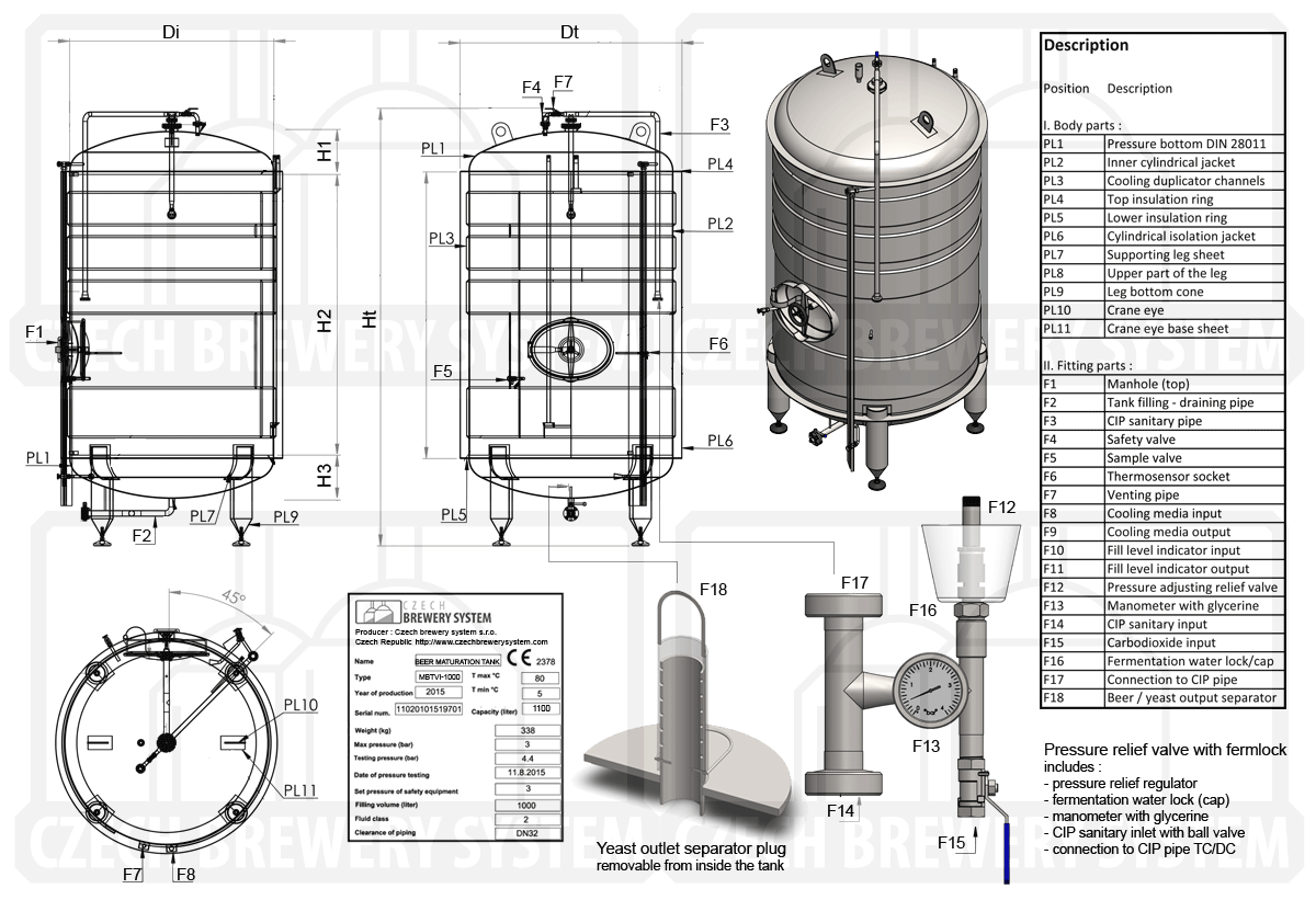 hight resolution of description of the tank for beer maturation insulated vertical cooled with water or glycol