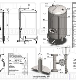 description of the tank for beer maturation non insulated vertical cooled with air  [ 1200 x 830 Pixel ]