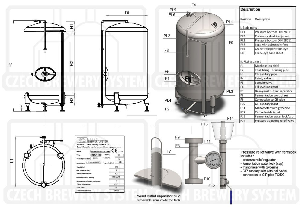 medium resolution of description of the tank for beer maturation non insulated vertical cooled with air