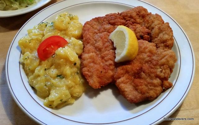 schnitzel and potato salad