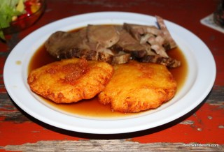 potato pancakes and meat