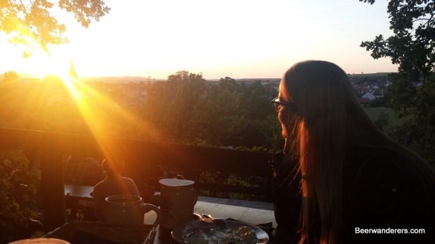 pretty woman watching sunset