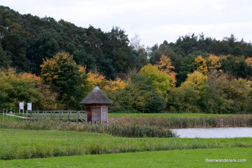 ponds in rural franconia with a small hut