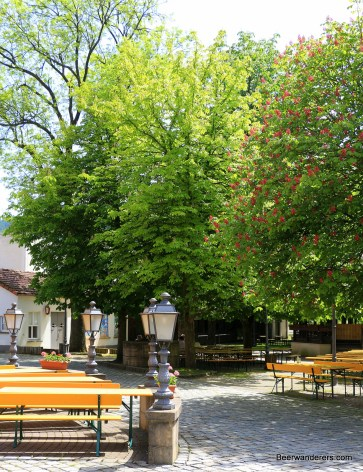 biergarten with chestnut trees