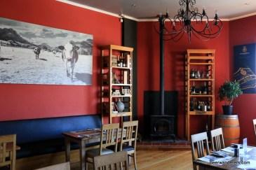 wood stove in cozy pub