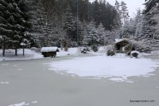frozen lake with cabin