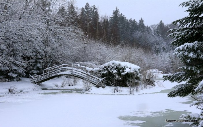 small bridge over frozen lake