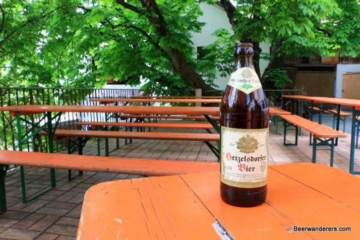 bottle of beer in biergarten