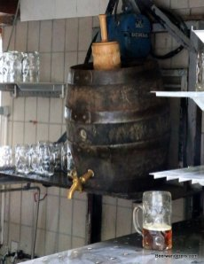 big wooden beer barrel