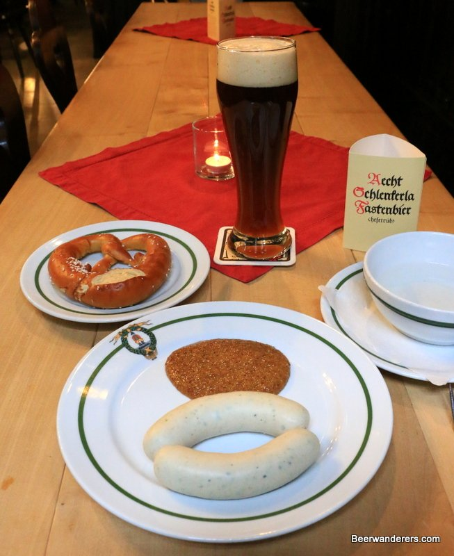 white sausanges with wheat beer