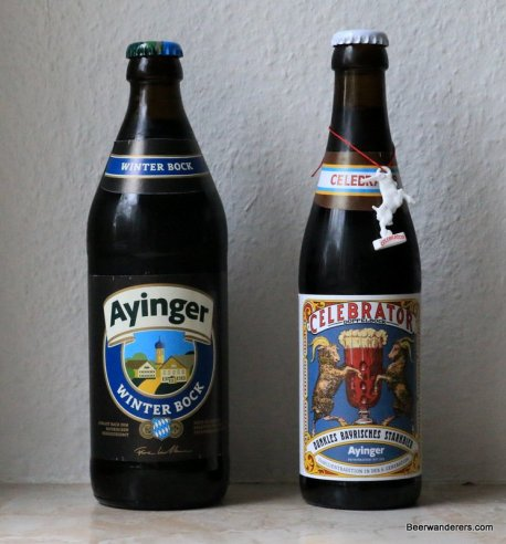 two bottles of ayinger beer