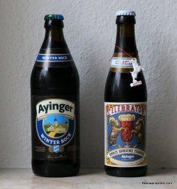 two bottles of ayinger beer