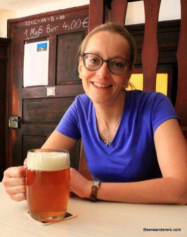 woman enjoying a beer