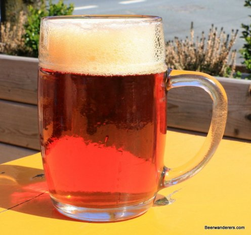 amber beer with big head in mug