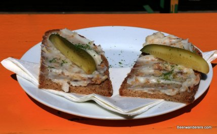 bread with spread and pickels