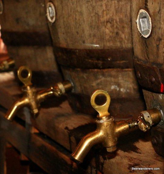 wooden beer barrels