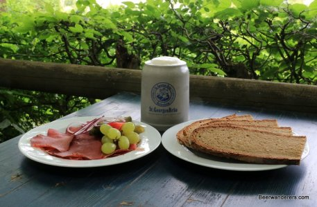 cold cuts with beer and bread