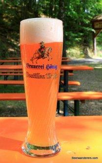 weissbier in glass at Bierkeller