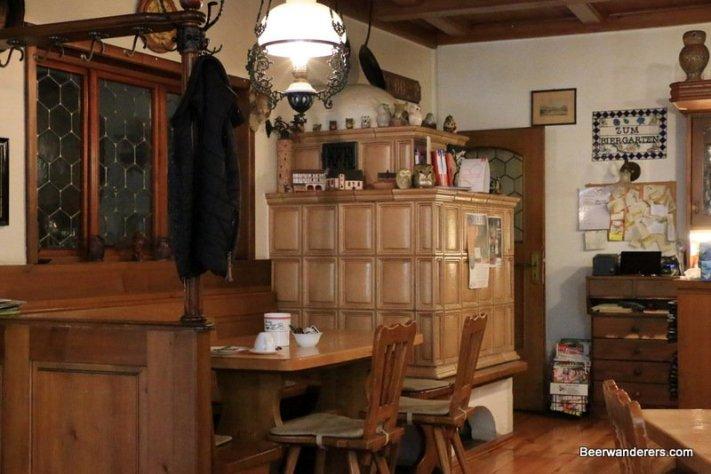 pub interior with ceramic tile oven