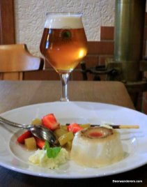 beer in wine glass with dessert