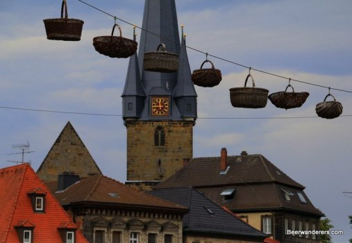 church tower with wicker baskets